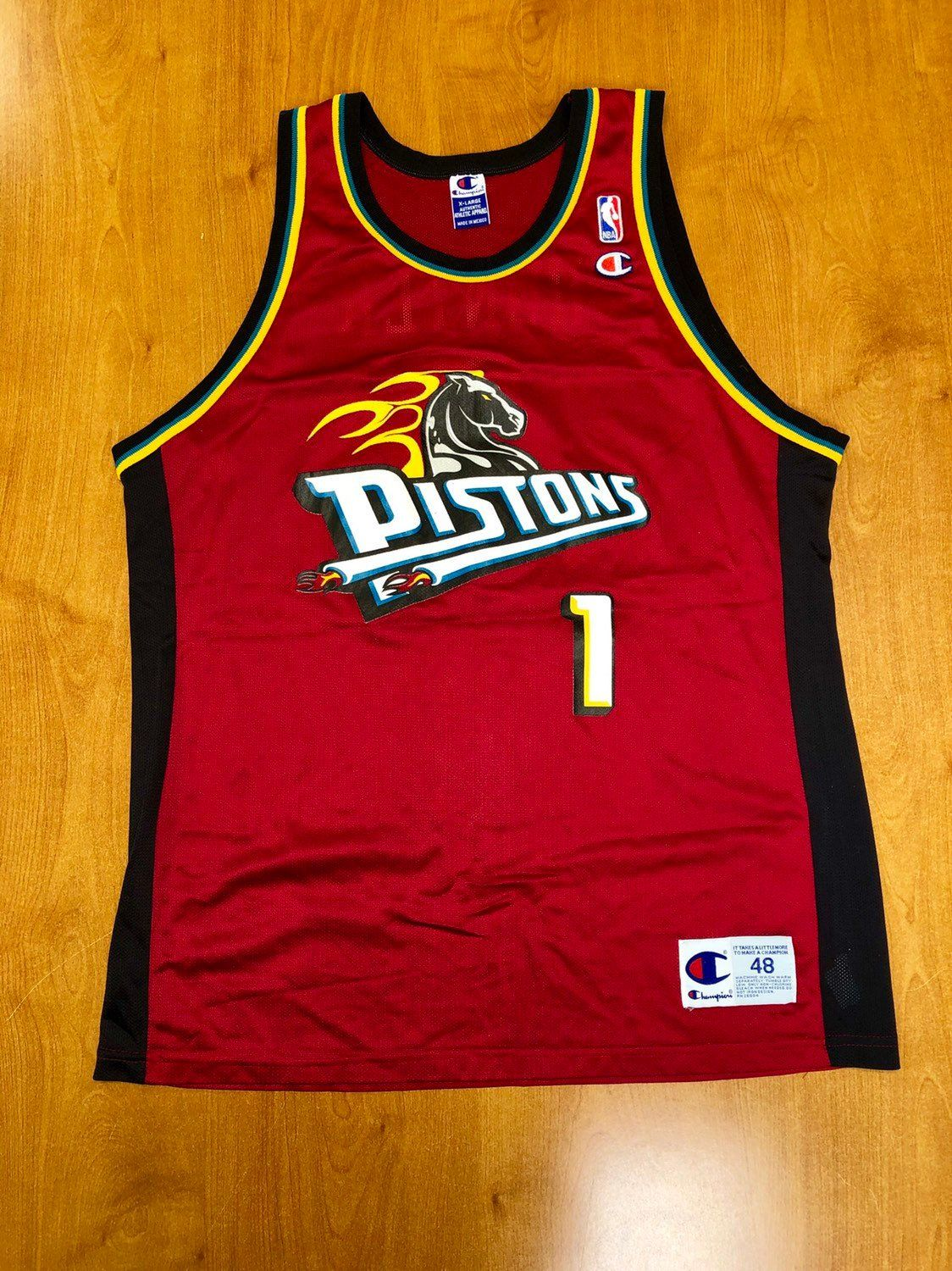 timeless design d4be0 09c11 Vintage 1998 - 1999 Lindsey Hunter Detroit Pistons Champion ...