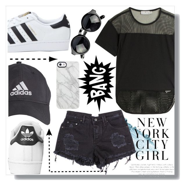 """ADIDAS GURL"" by eessttaaccee ❤ liked on Polyvore featuring adidas, adidas Originals, Stila and Uncommon"