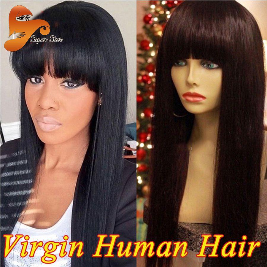 Full Lace Human Hair Wigs For Black Women With Bangs Virgin Peruvian
