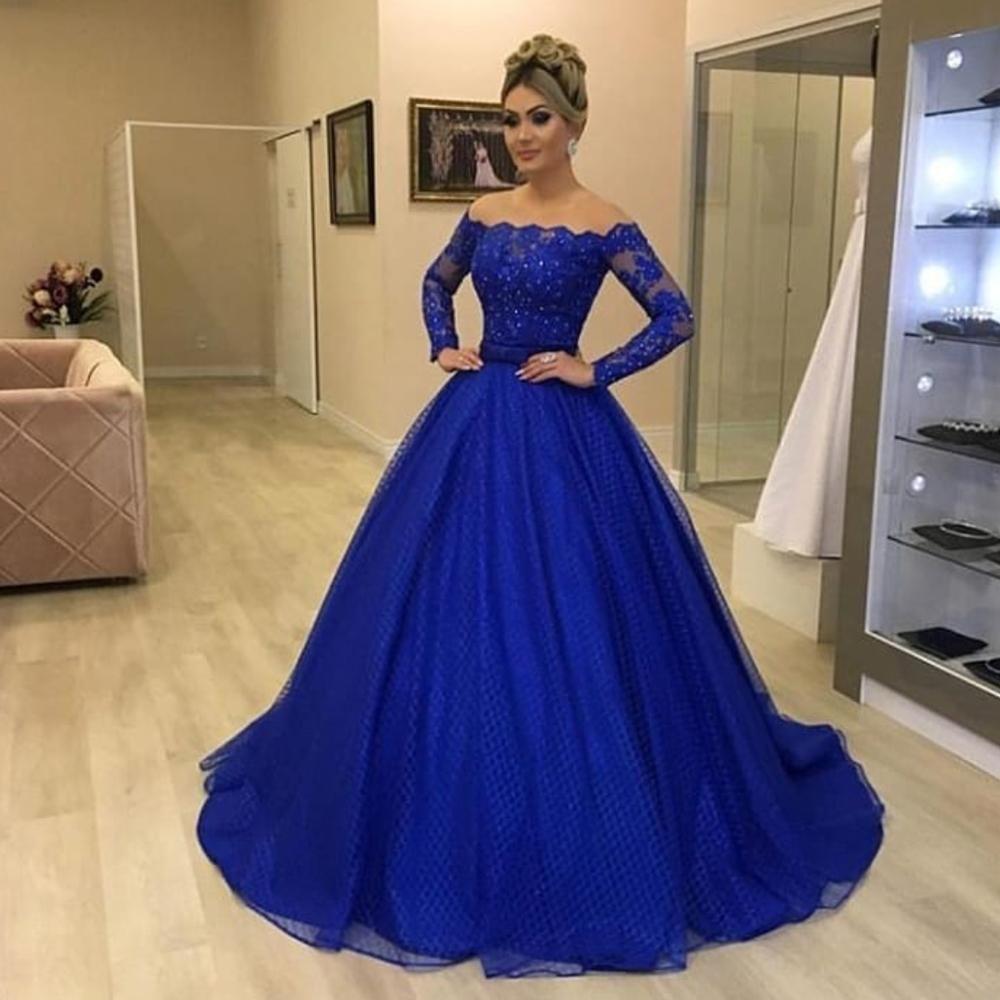 Royal Blue Prom Dresses 2020 Long Sleeve Detachable Skirt Ball Gown Lace Evening Dresses Arabic Formal Dresses Prom Dresses Long With Sleeves Royal Blue Prom Dresses Prom Dresses Blue