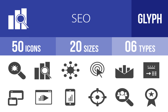 50 SEO Glyph Icons by IconBunny on @creativemarket