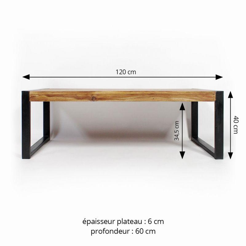 Table Basse Industrielle En Bois Et Métal Made In Meubles