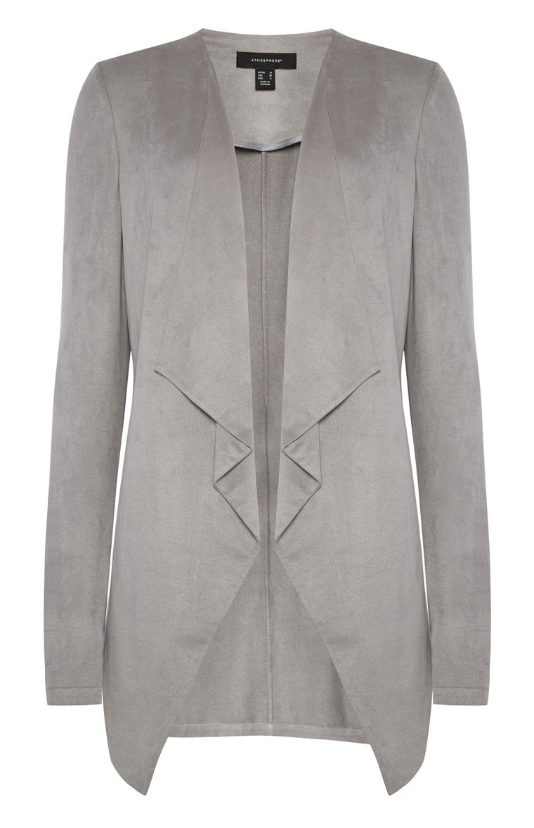 Primark - Grey Suedette Waterfall Jacket | Primark | Pinterest ...