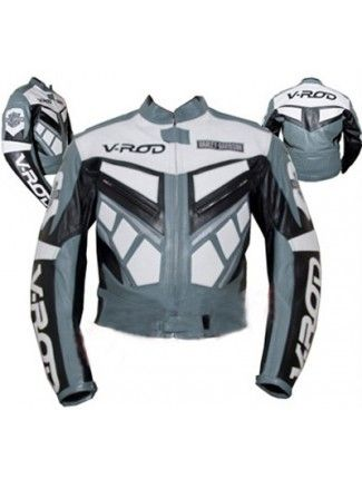 Gray Color Harley Davidson V Rod Motorcycle Bike Leather Jacket Bike Leathers Jackets Cheap Leather Jacket