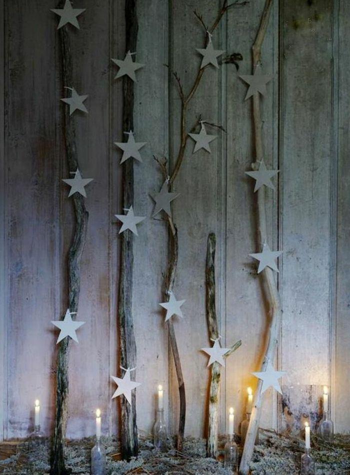 rustikale dekoration ste dekoriert mit sternen weihnachten winter pinterest ast. Black Bedroom Furniture Sets. Home Design Ideas
