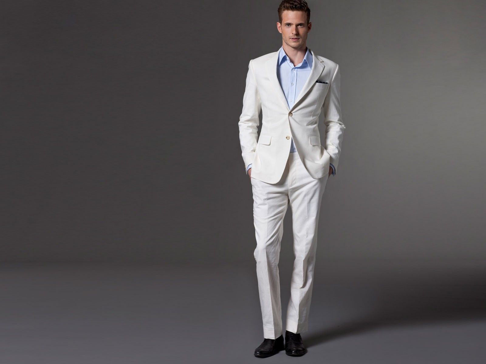 White linen suit by Indochino. $349.00