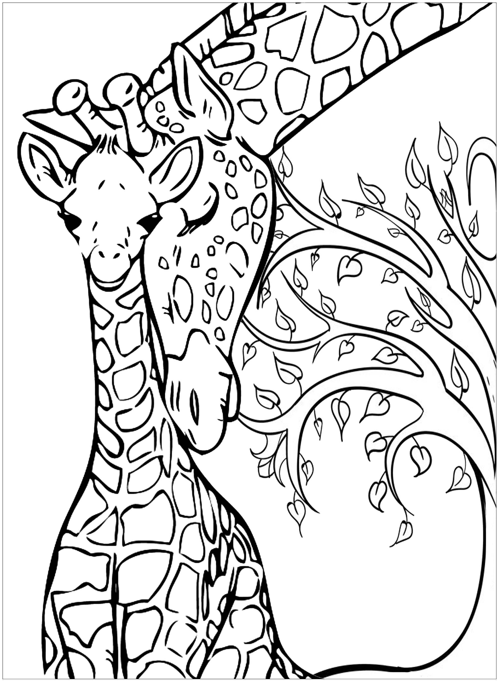 Baby Giraffe And His Mother Color These Two Giraffes With Tree In Background From The Gallery Giraffe Coloring Pages Planet Coloring Pages Giraffe Colors
