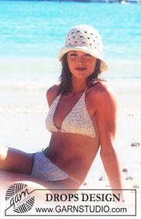 """Gehaakte DROPS Bikini en zonnehoed van """"Safran"""". Maat S - L. ~ DROPS Design"""