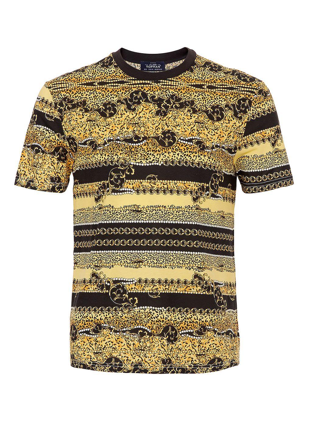 Black t shirt topman - Multi Baroque Print T Shirt Men S T Shirts Clothing Topman Usa