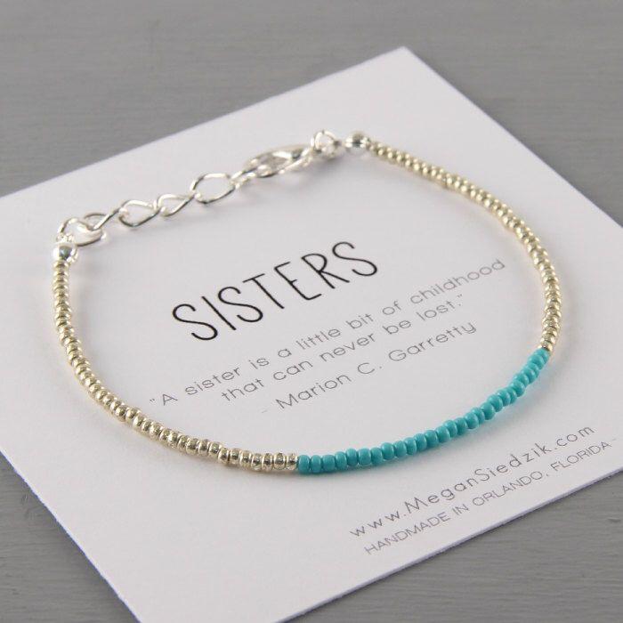 Sister Bracelet Sibling Jewelry Message Love Silver Sea Foam