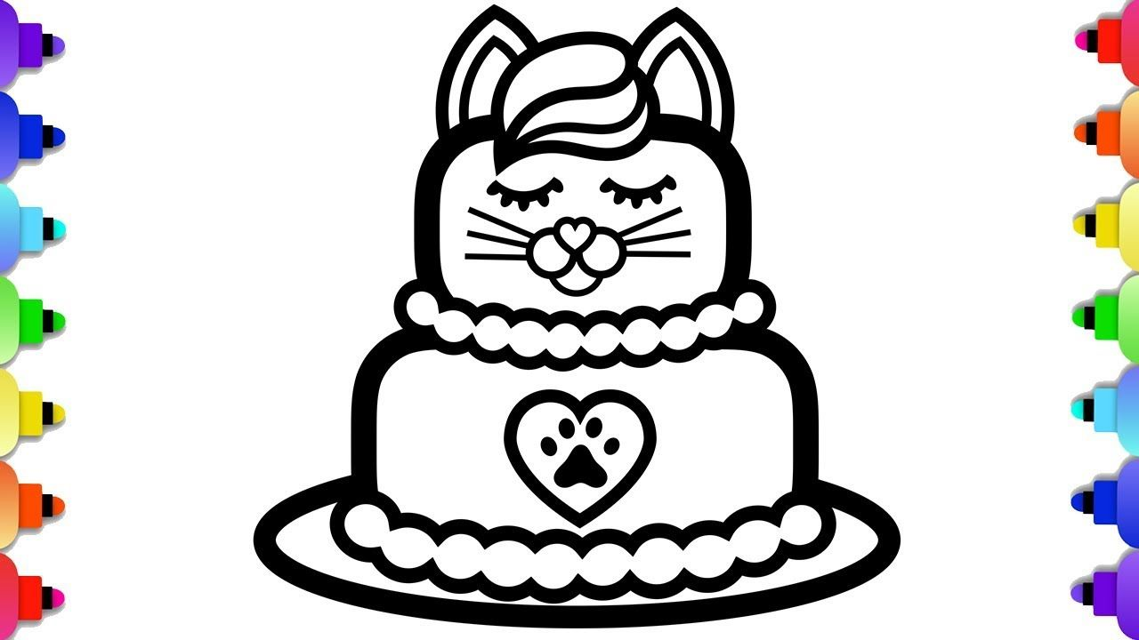 Learn To Draw A Cute Kitten Cake And A Unicorn Cake For Cute Kitten Cake Coloring Page Meow Moe Coloring Pages Barbie Coloring Pages Barbie Coloring