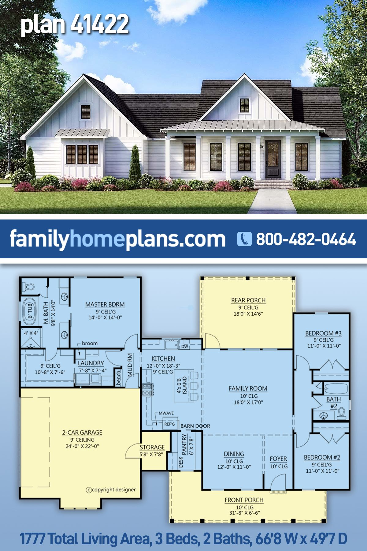 Southern Style House Plan 41422 With 3 Bed 2 Bath 2 Car Garage Craftsman House Plans Cottage Floor Plans Craftsman Floor Plans