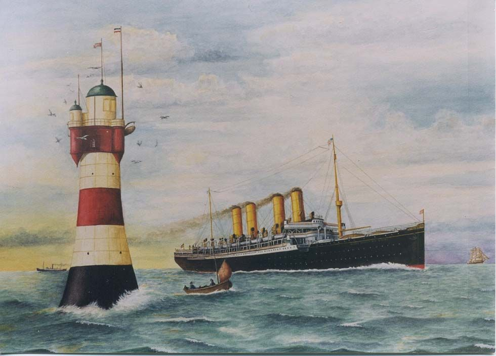 Kaiser Wilhelm Der Grosse Passing Roter Sand Lighthouse A Painting By Heribert Schroepfer