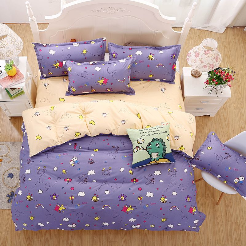 2016 new bedding sets purple style cute little bee reactive printing kid bed sheets quilt cover