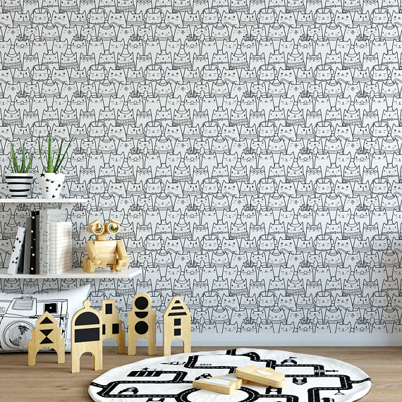Wallpaper You Can Color cute cats color me removable wallpaper / cute self adhesive