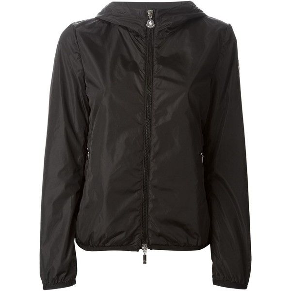 Moncler Classic Windbreaker Jacket ($484) ❤ liked on Polyvore featuring activewear, activewear jackets, black and moncler