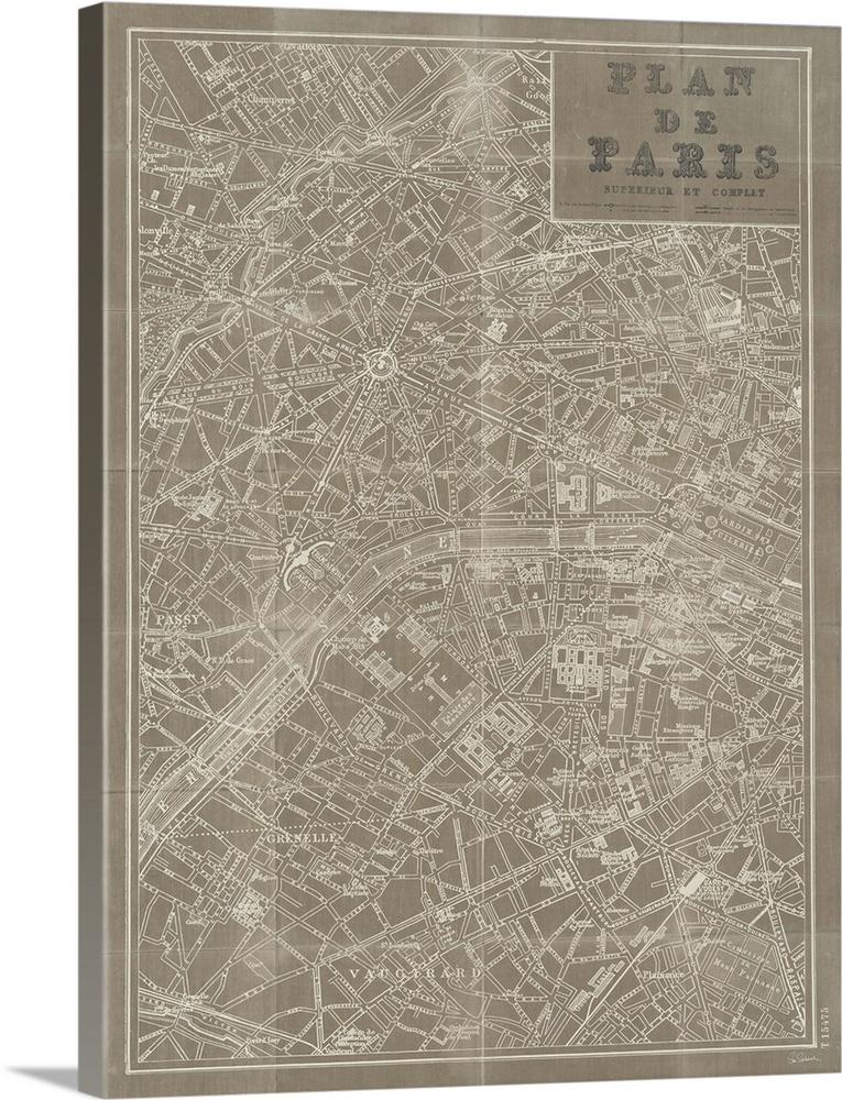 Blueprint Map Paris Taupe Paris Map Canvas Print Wall Graphic Art Print