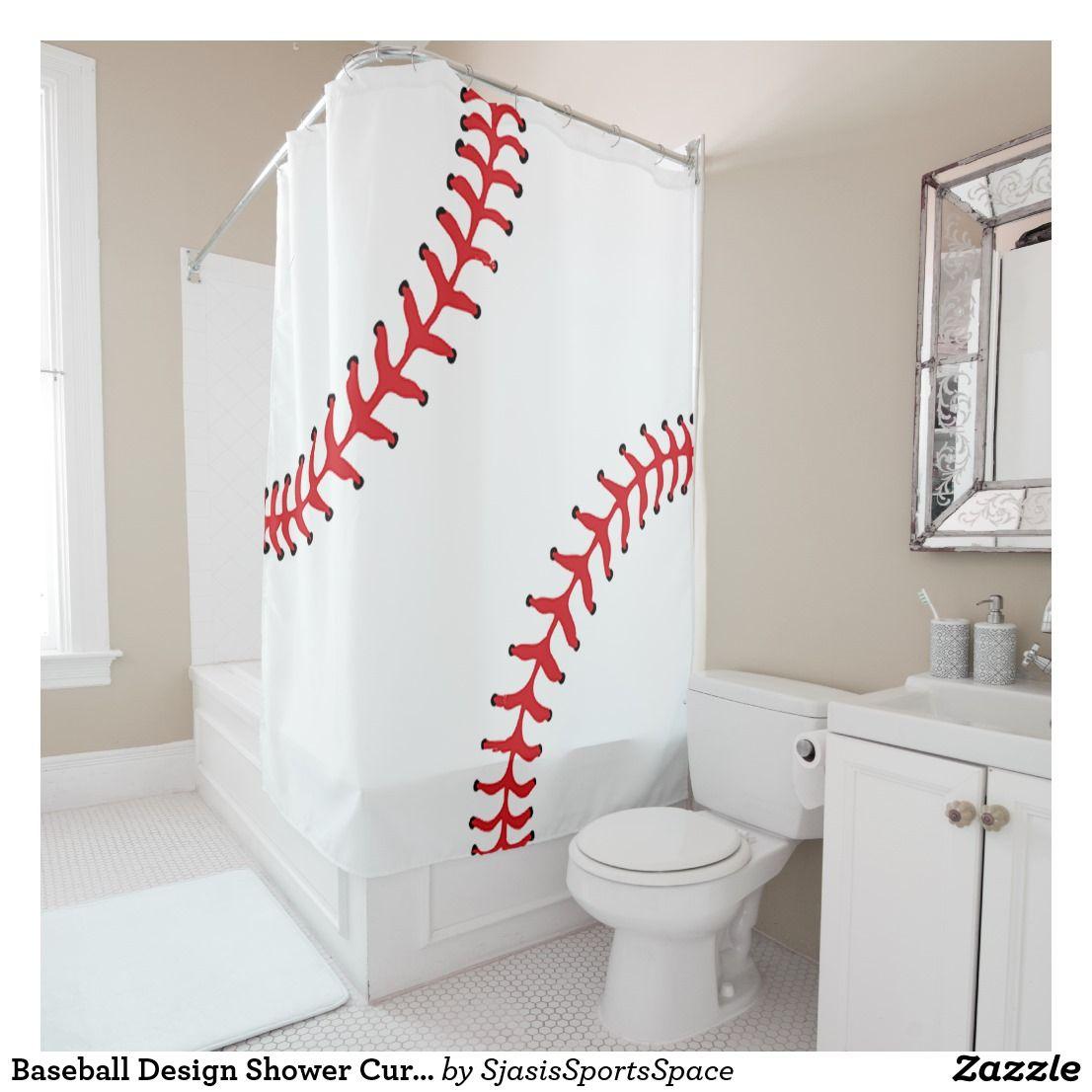 Baseball Design Shower Curtain Zazzle Com Custom Shower