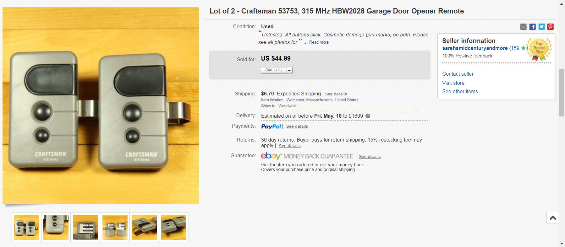 Free Sold For 44 99 To Iubock Tx Garage Door Opener Remote Selling On Ebay Ebay