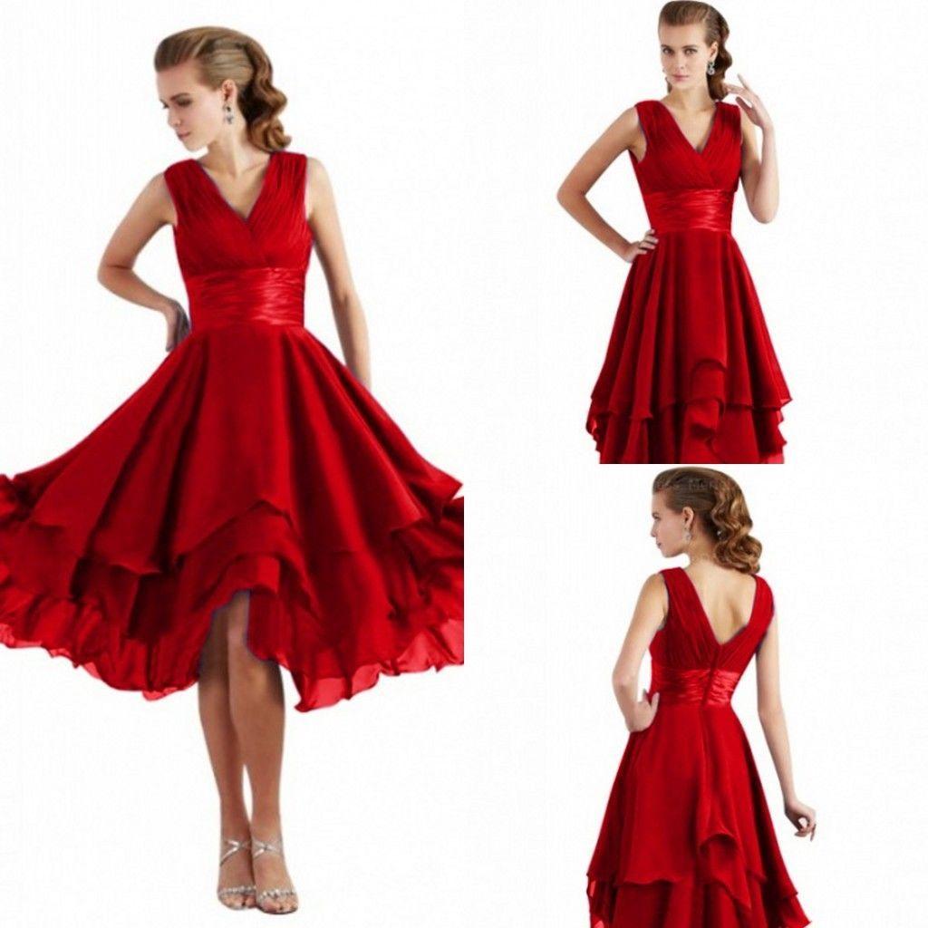 Rot Kurz Cocktailkleider Abendkleider Ballkleider Partykleid Gr.10