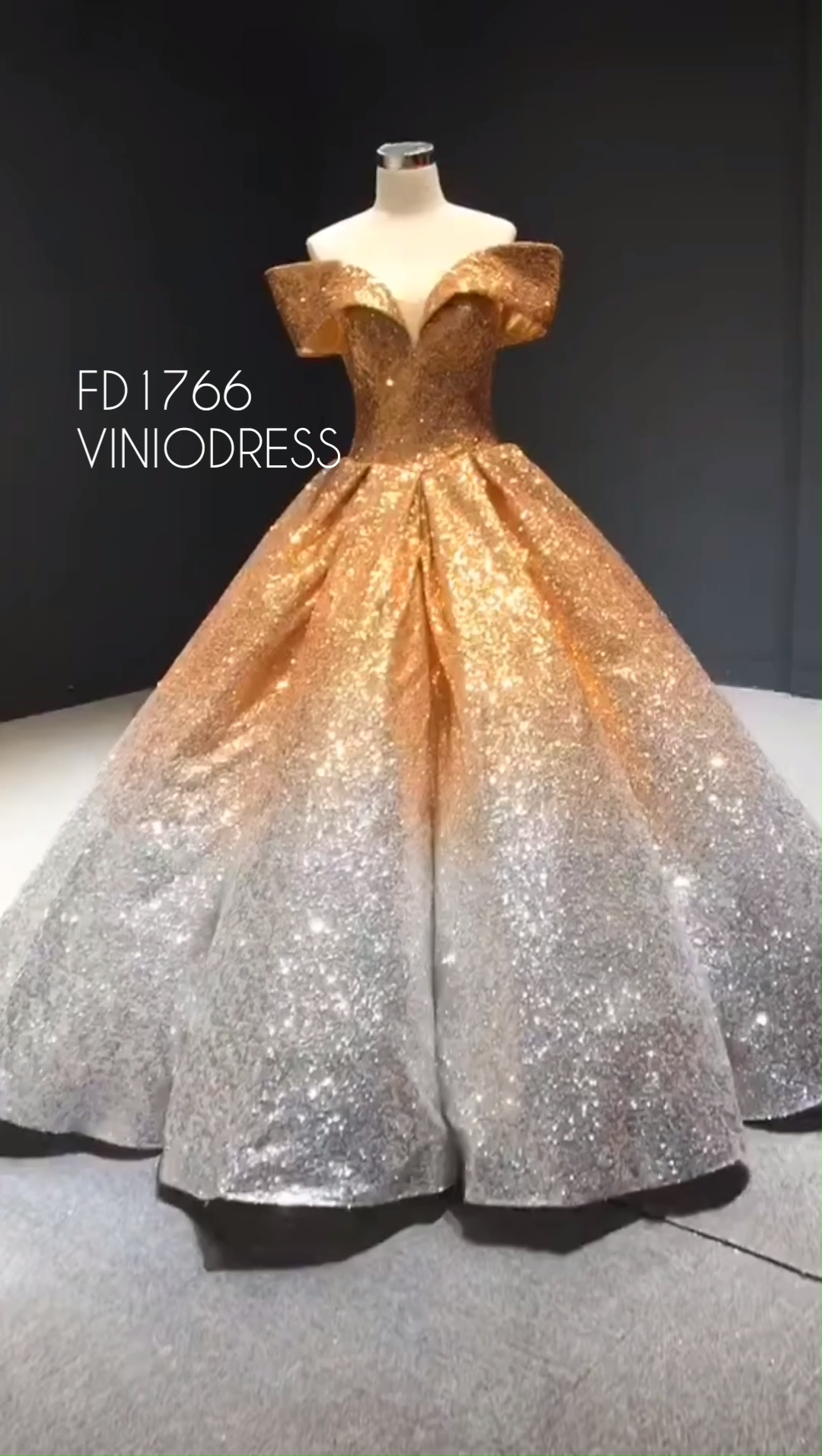 Classy and Vintage Ombre Sequin Ball Gowns Sparkly Quince Dresses FD1766 -   15 dress Quinceanera court ideas