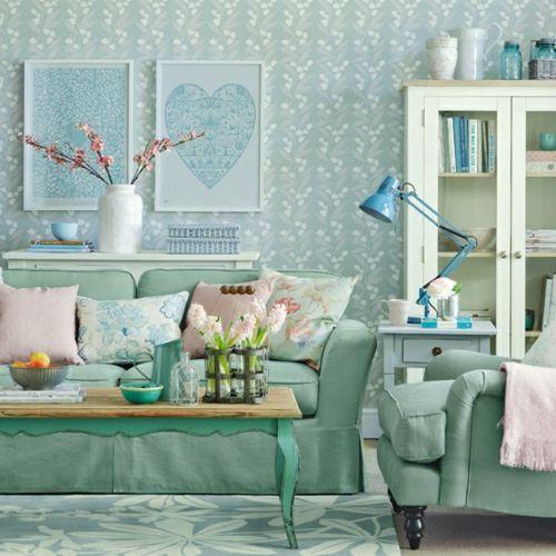 Kleines Wohnzimmer Gestalten Wohnideen Blau Smaragdgrün Modern