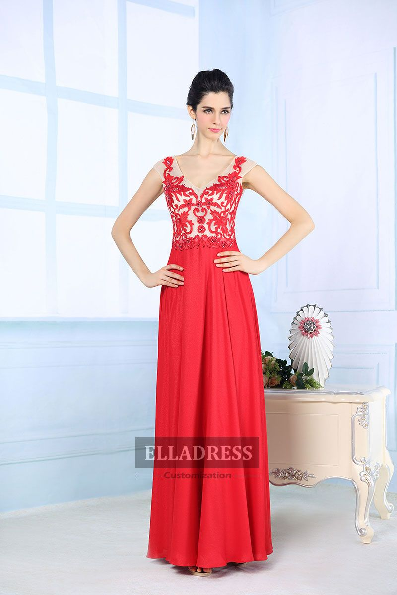 Long red dress for wedding  Red Sheer Straps Floor length Prom Dress  Prom Dresses