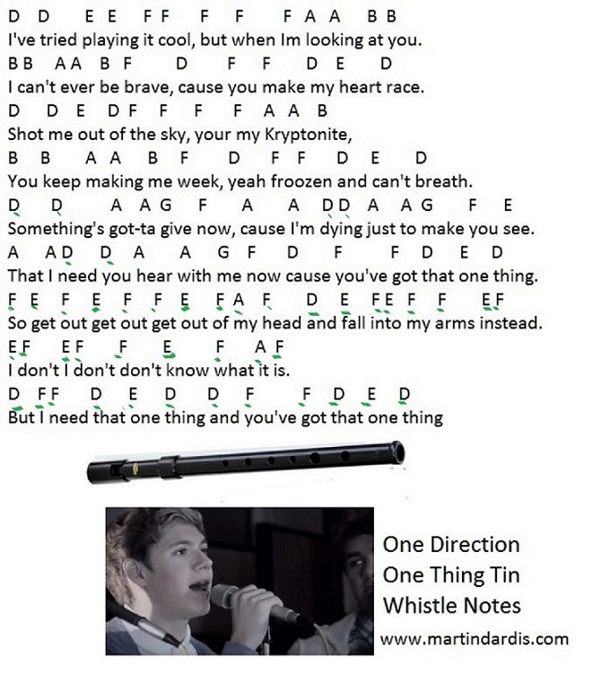 Guitar Song Notes One Direction One Thing Tin Whistle Notes One