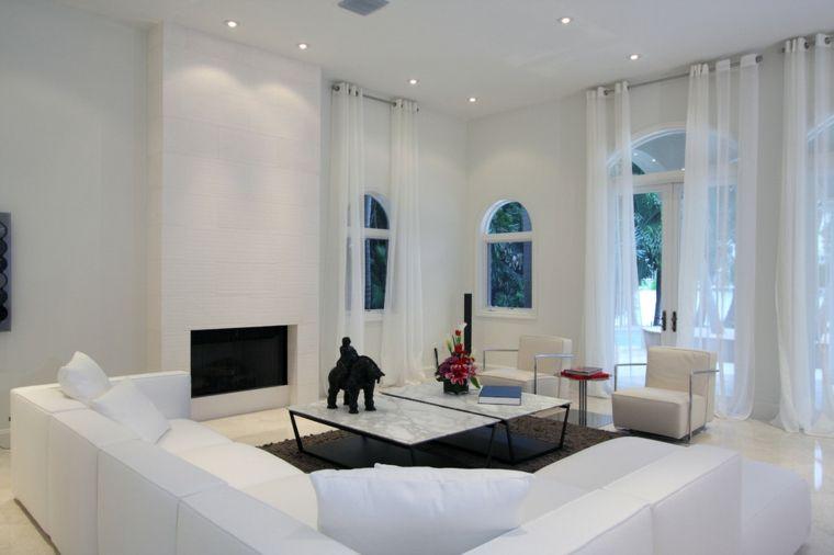 salon moderno blanco cortinas blancas - Cortinas Salon Moderno