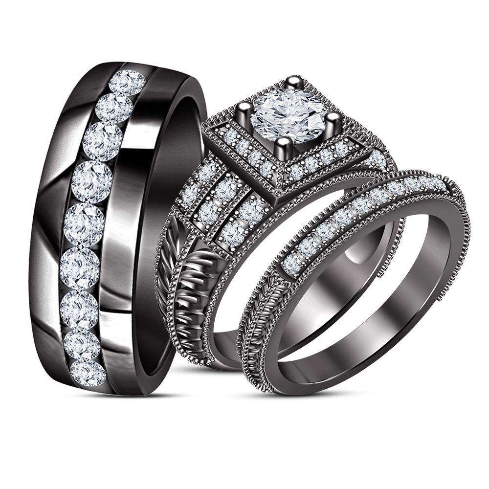 His Her Diamond Engagement Ring Trio Set Black Rhodium Finish Pure 925 Silver Wedding Ring Trio Sets Wedding Ring Trio Wedding Rings For Women