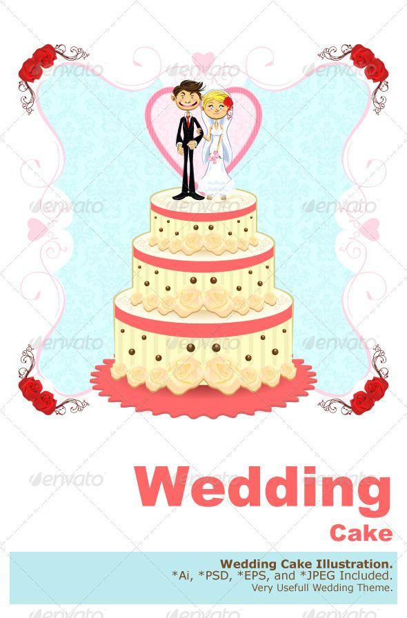 Romantic Wedding Cake #GraphicRiver Beautiful Romantic Wedding Cake ...