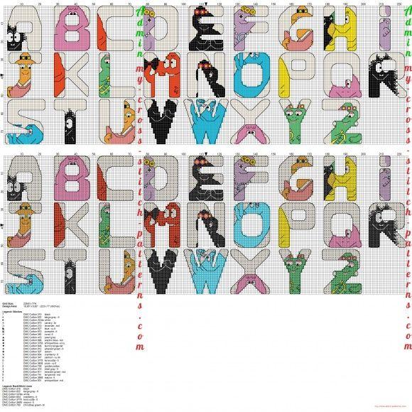Alfabeto punto croce con i barbapap schemi punto croce for Schemi punto croce alfabeto bambini