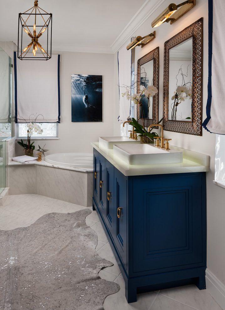 image result for bathroom blue gray gold fixtures  blue