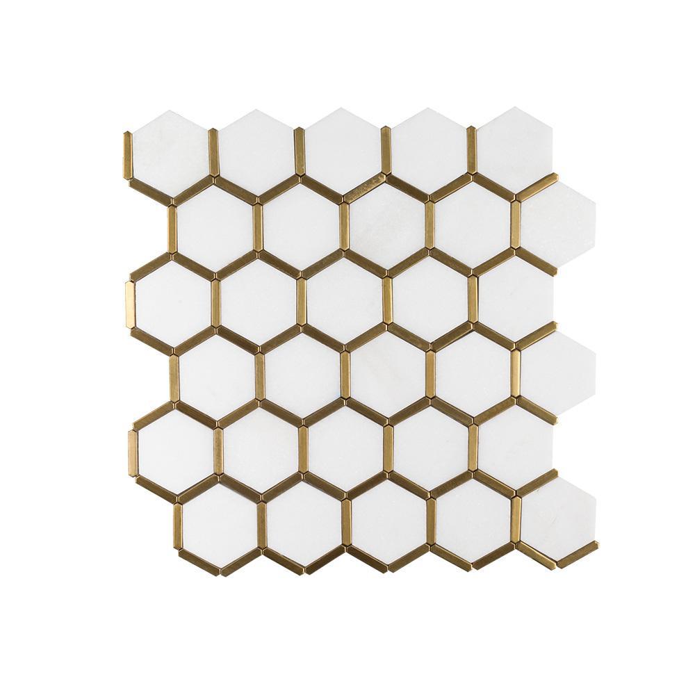 Jeffrey Court Karats White Honeycomb 10 625 In X 11 125 In X 8mm Natural Stone Metal Mosaic Tile 97937 Metal Mosaic Tiles Mosaic Flooring Mosaic Floor Tile