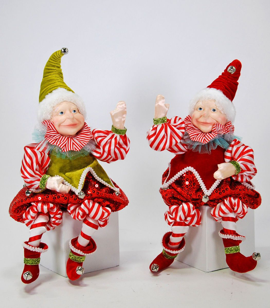 """Katherine's Collection Set Two Approx 14"""""""" Peppermint Christmas Elf Dolls Free Ship"""