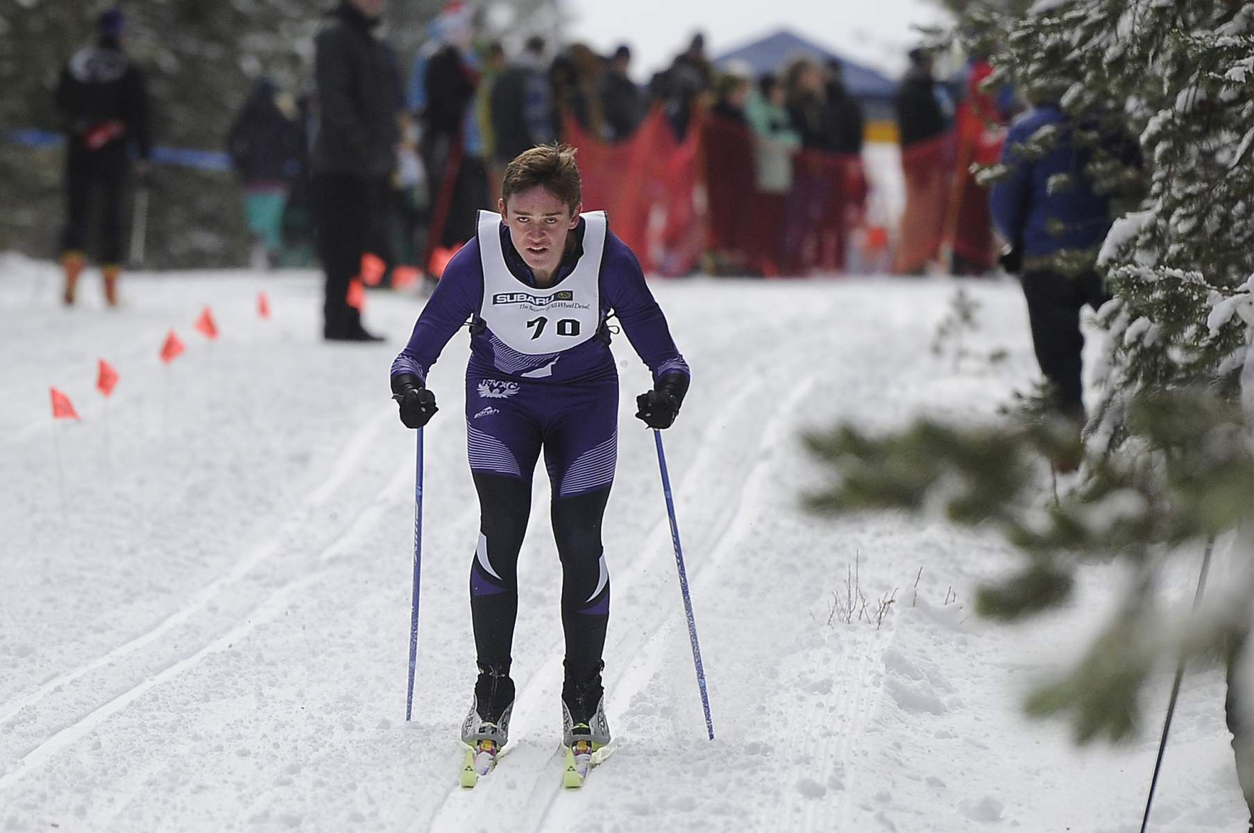 Ridgeview's Micah Capson (70) skis down the course while