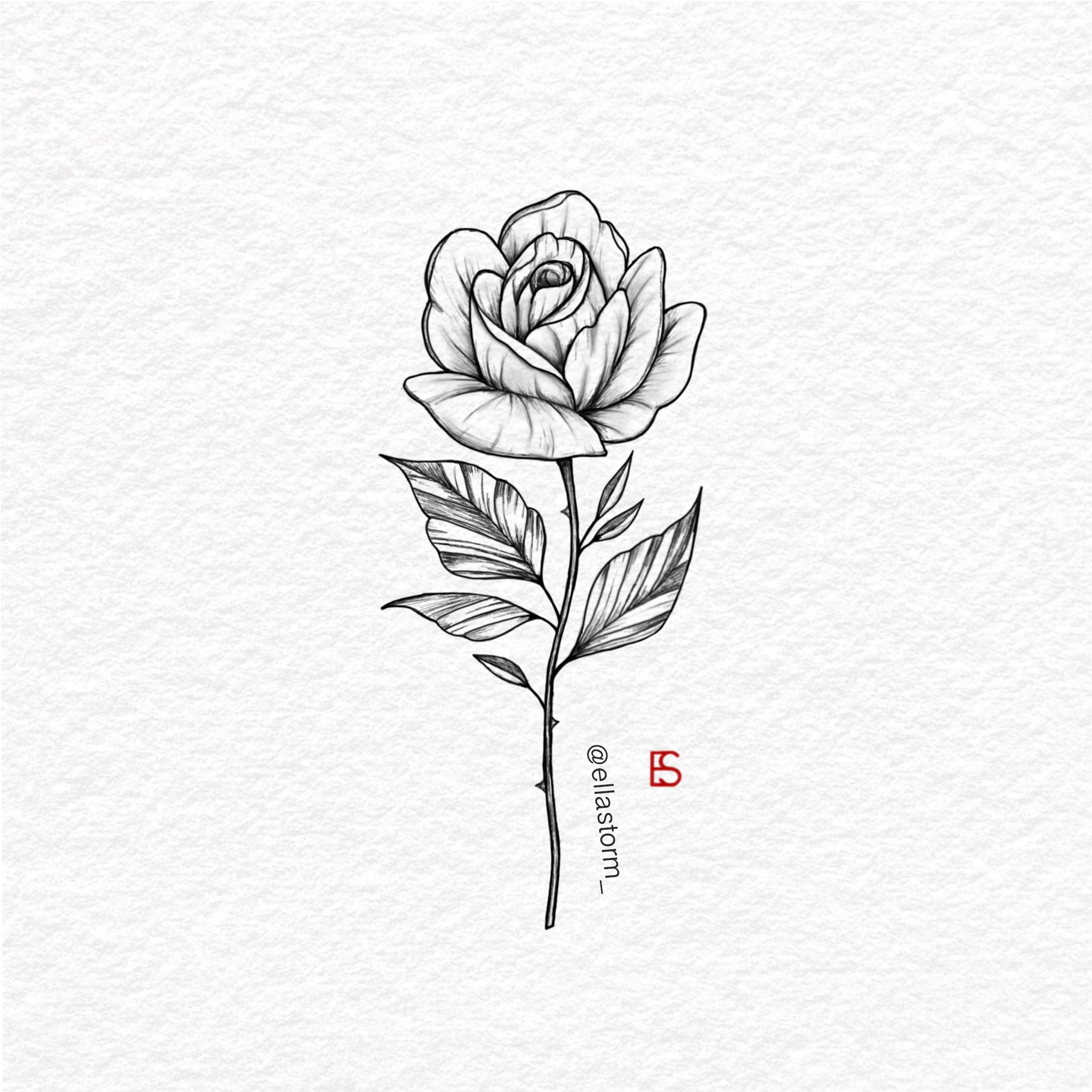 Single Rose Fine Line Tattoo Design By Ella Storm At Ellastorm Mini