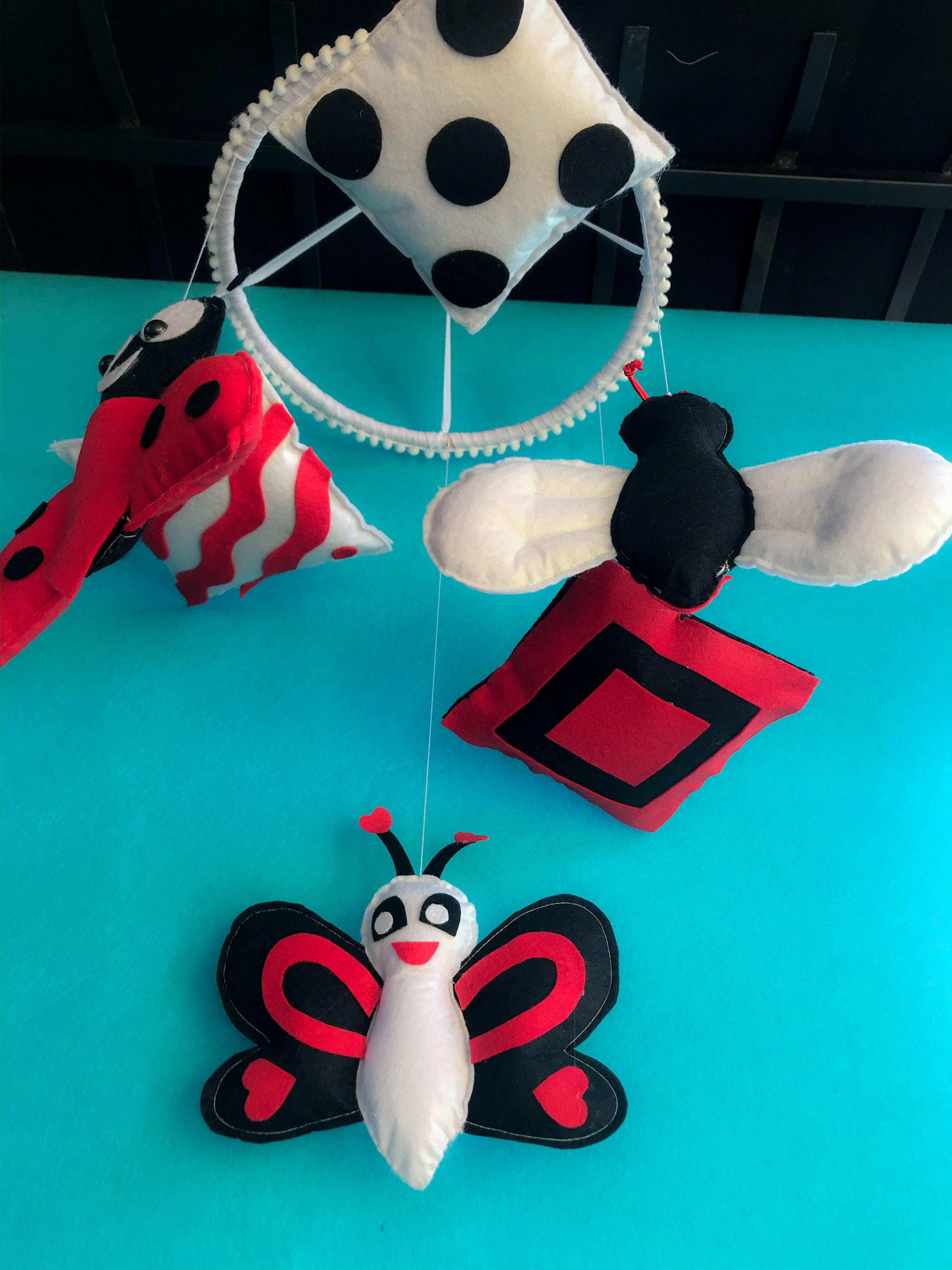 Custom Made Crib Mobile Nursery For For Toddlers With Black White Red Combination In 2020 Crib Mobile Felt Crafts Crafts