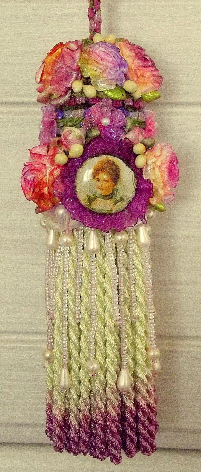 Another tassel with hand-dyed roses.