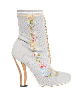 eea67a317b92 Floral-embroidered striped-heel sock boots