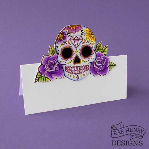 Rockabilly Wedding Ideas: Purple Sugar Skull Place Cards Pack Of 10 Personalised Or