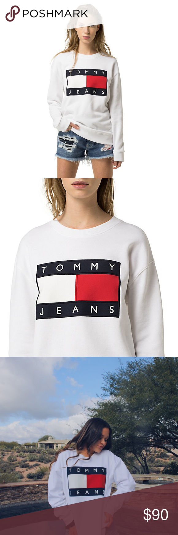 Tommy Hilfiger White Women S Flag Sweatshirt Women Sweatshirts Tommy Hilfiger [ 1740 x 580 Pixel ]