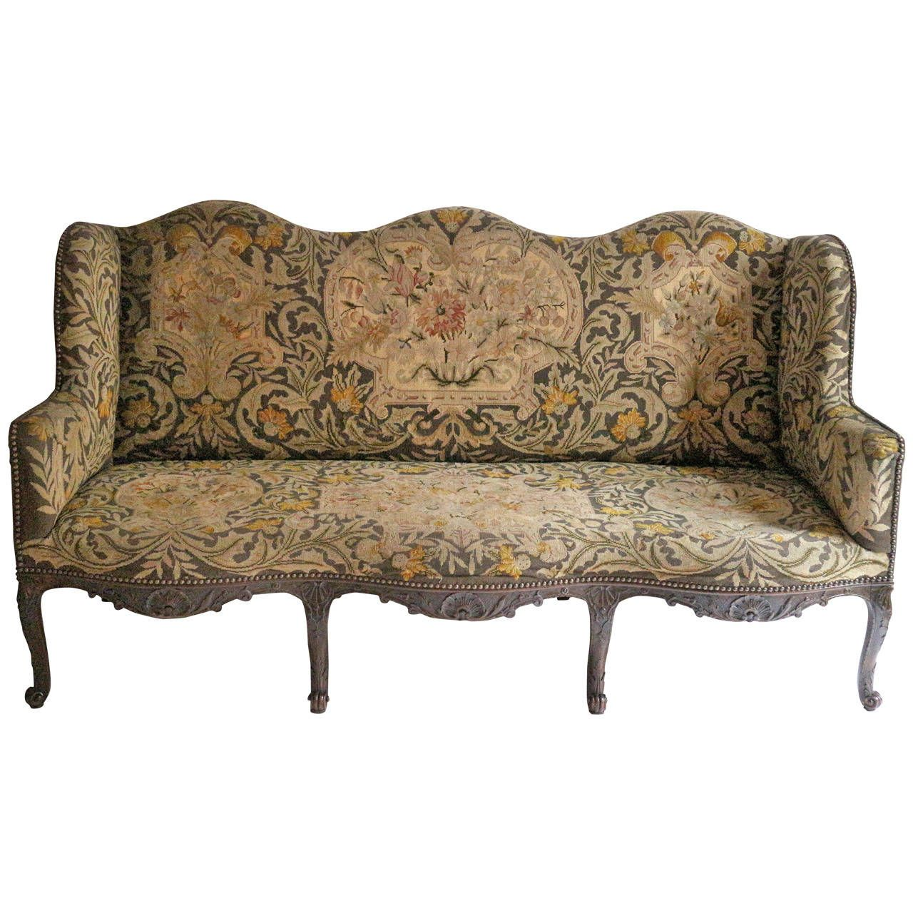 Mid 19th Century Three Seat Louis Vx Style Sofa With Original Tapestry 1stdibs
