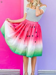 Watermelon Print Midi Skirt