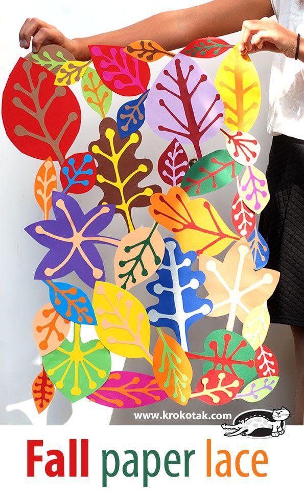 Fall Paper Lace Kids Craft Craft Ideas Autumn Art Fall Art