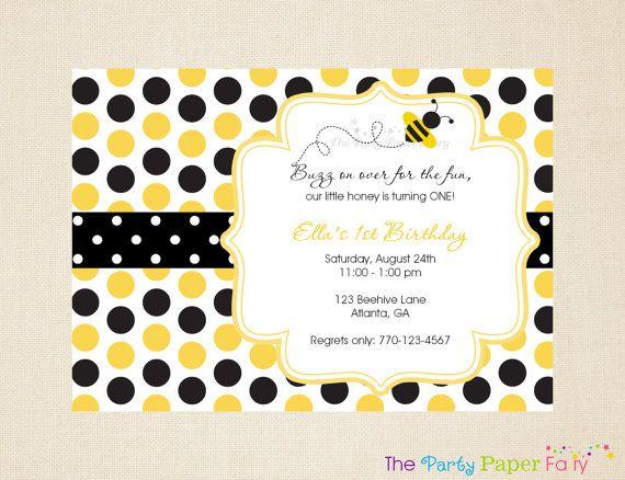 Bee Birthday Invitation Bumble Bee Invitation Bee Party – Bumble Bee Party Invitations