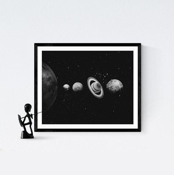 Solar system wall art, solar system print, modern art, Black and white, space wall art, Printable Art, space wall art, scandinavian art