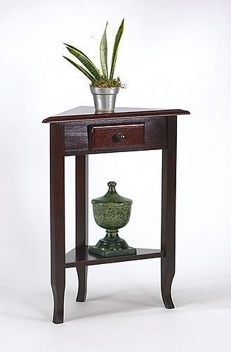 Wood Merlot Brown Finish Accent Display Triangle Corner Table W Drawer Shelf Corner Table Living Room Accent Tables Sofa End Tables
