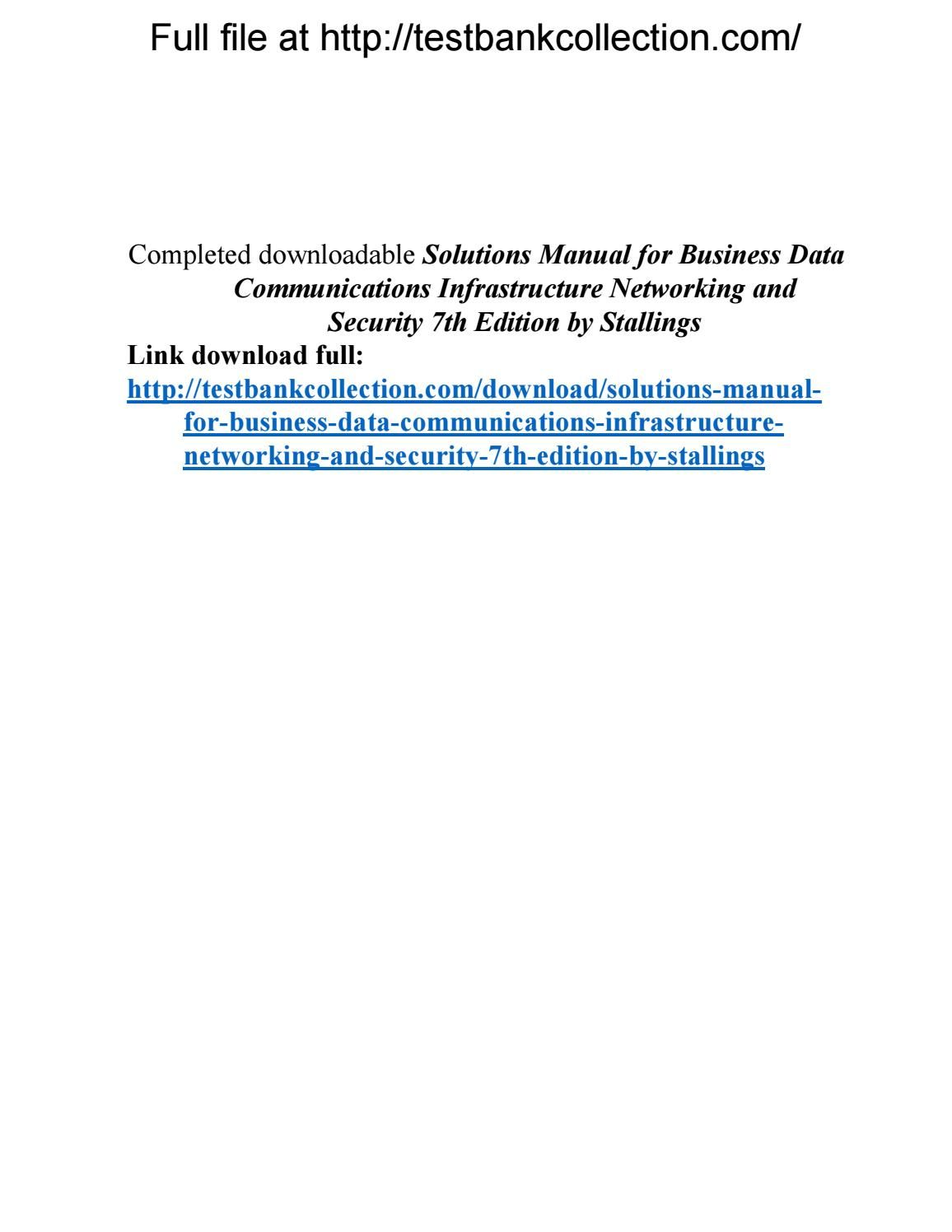 Solutions manual for business data communications infrastructure networking  and security 7th edition