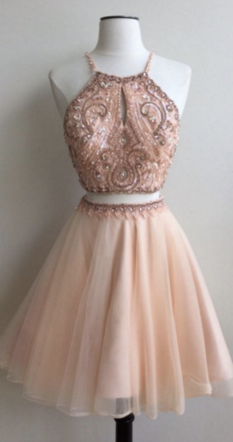 cheap homecoming dresses 2018 short Beads Two Piece Straps ...